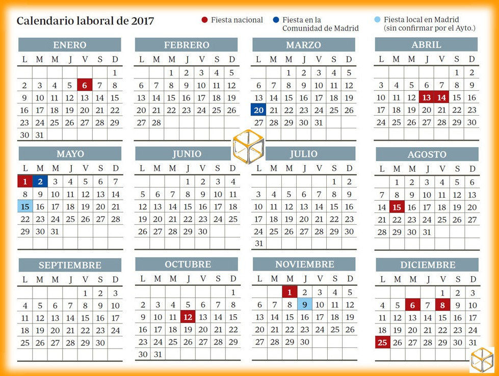 Calendario Laboral Comunidad De Madrid.Calendario Laboral 2017