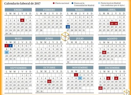 Aprobado el calendario laboral de 2017 para la comunidad for Calendario laboral leganes 2017