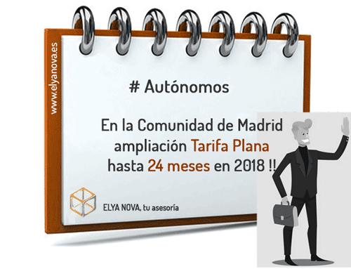 Seis meses MÁS de tarifa plana para los Autónomos Madrileños.