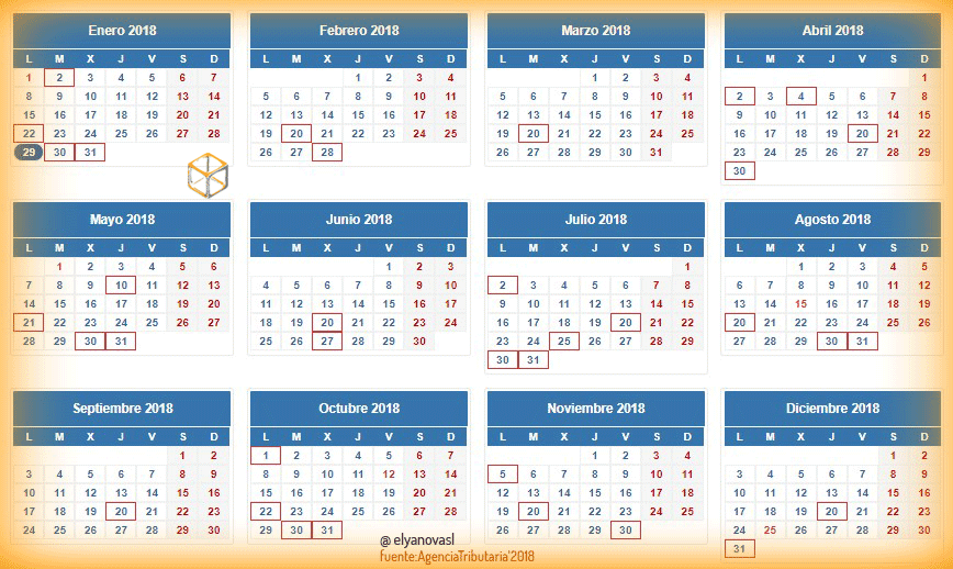 Aeat Calendario Fiscal 2020.Calendario Del Contribuyente Agencia Tributaria Asesoria