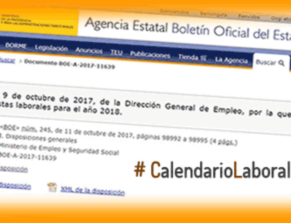 Calendario Laboral 2018. Aprobado y Publicado por la Comunidad de Madrid.